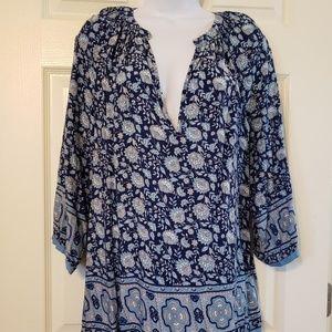 Artisan NY Blue floral boho flowy blouse